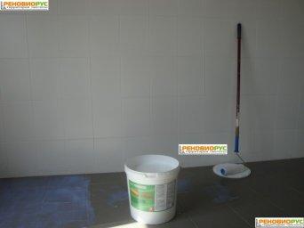 Жидкая пленка Liquick. Кафельный пол в малярной мастерской. Лакокрасочный цех